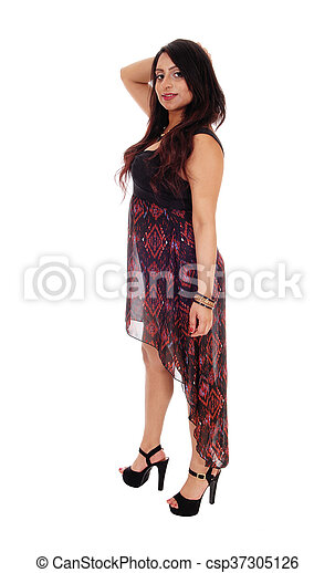 Happy East Indian woman in long dress. - csp37305126
