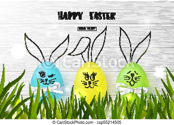 happy easter background with funny colorful eggs and grass on wooden texture egg hunt vector