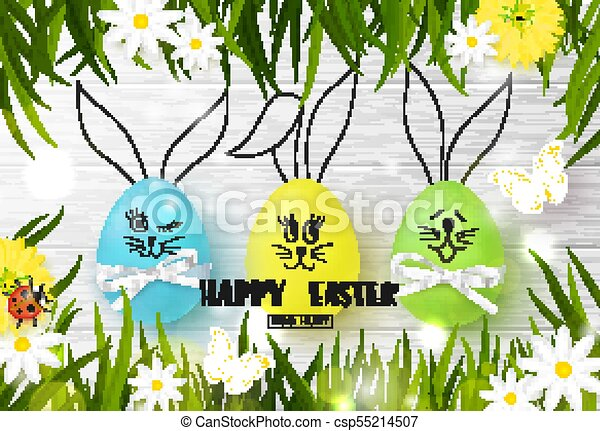 Happy easter background with funny colorful eggs grass flowers grass flowers ladybug and butterfly on wooden texture egg hunt vector illustration design layout for invitation card banner poster voucher stopboris Image collections