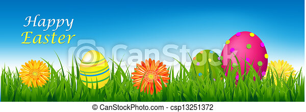 Happy Easter Banner With Grass And Eggs - csp13251372