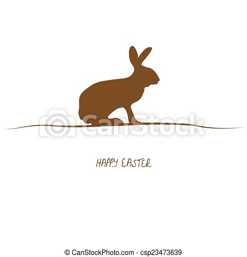 Happy Easter - brown silhouette - csp23473639