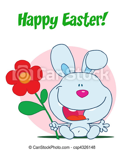Happy Easter bunny holds flower - csp4326148
