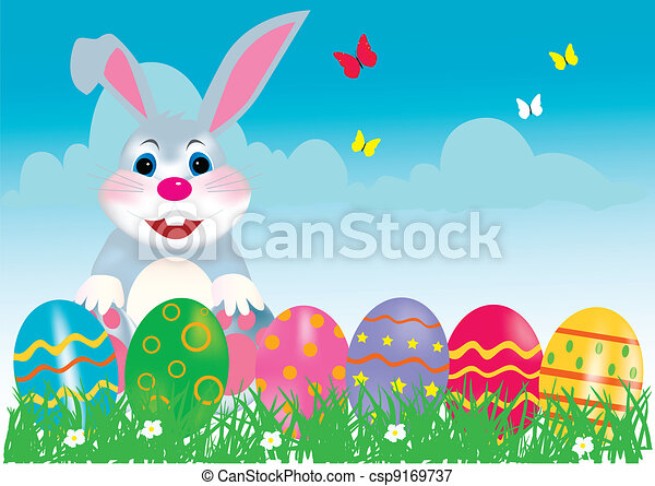 Happy Easter Bunny with Eggs - csp9169737