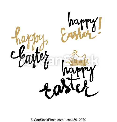 happy easter calligraphy set of holiday greetings hand vectors rh canstockphoto com holiday vectors free holiday vector free