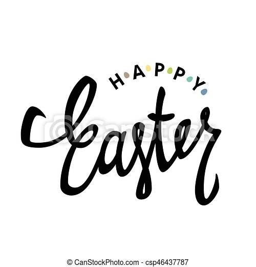 Happy easter calligraphy with colorful eggs holiday greetings happy easter calligraphy with colorful eggs holiday greetings logotype hand drawn vector lettering m4hsunfo