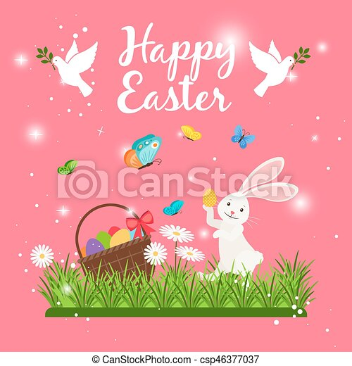 happy easter card template with cute white rabbit and bunny eggs