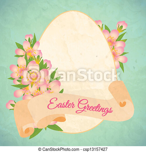 Happy Easter Card Template With Ribbon And Flowers Vector