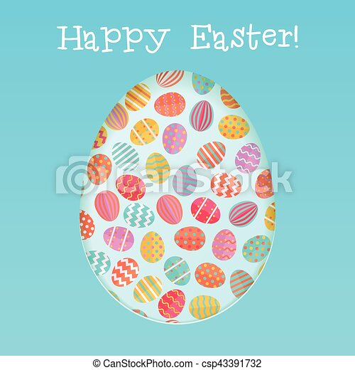 Happy easter card template with - csp43391732