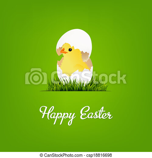 Happy Easter Card With Chicken - csp18816698