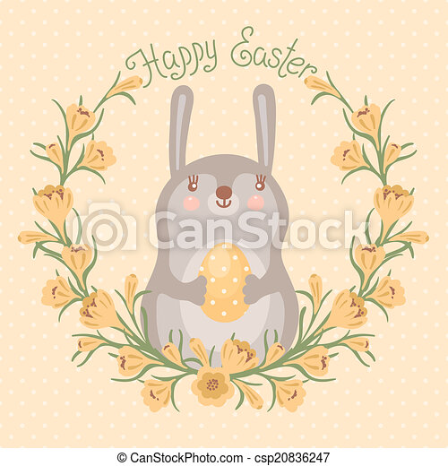 Happy Easter card with cute bunny. - csp20836247