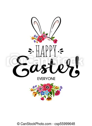 happy easter card with lettering flowers and rabbit template of