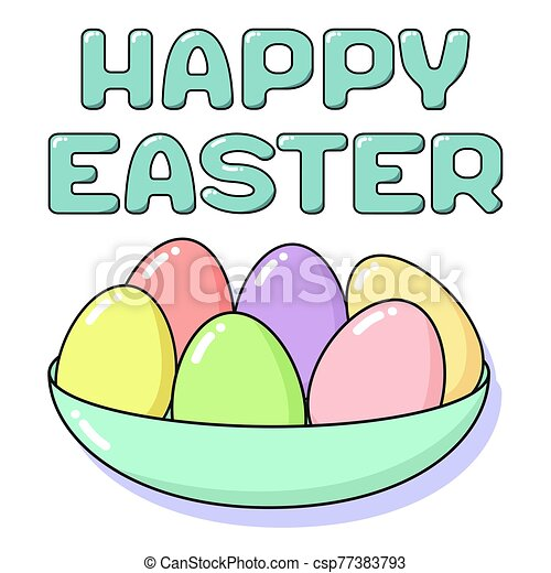 Happy Easter card with painted eggs in plate and lettering. Holiday concept coloring in pastel colors - pink, blue, yellow, green and coral. Square vector flat illustration isolated on white background - csp77383793