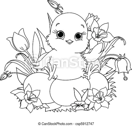 happy easter chick. coloring page. Newborn chick sitting on ...