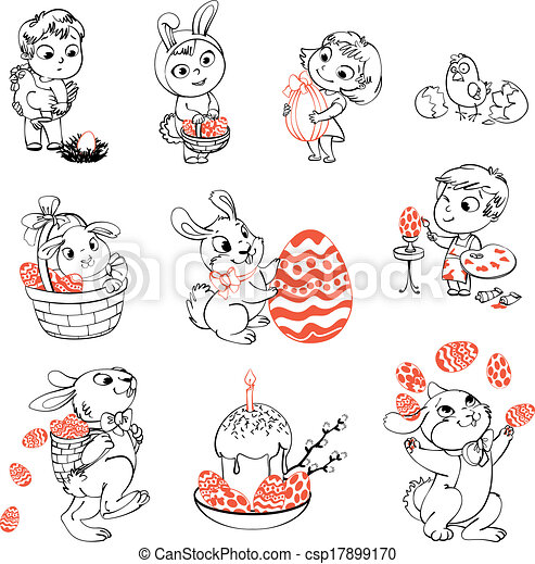 Happy easter. coloring book. Happy easter. cute easter bunny ...