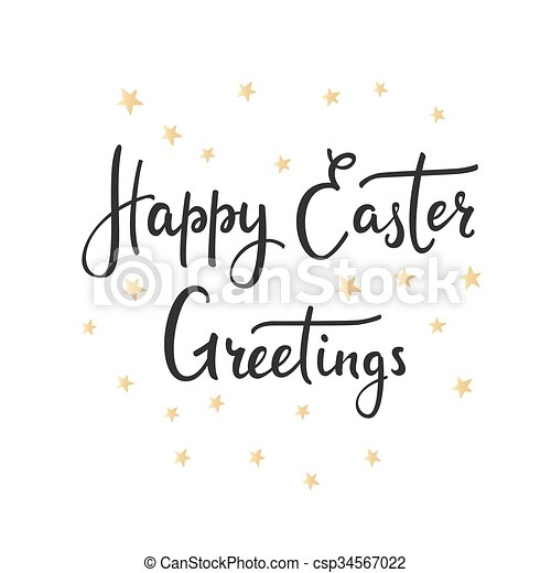happy easter day simple lettering calligraphy postcard or poster