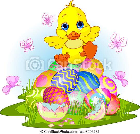 Happy Easter duckling - csp3298131