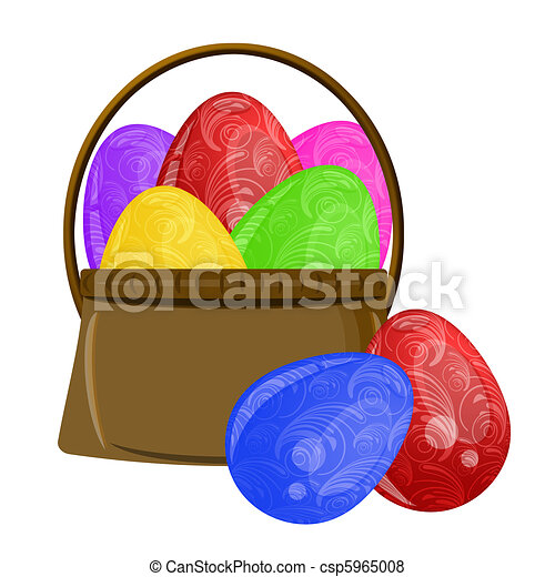 Happy Easter Egg Basket with Scroll Design - csp5965008