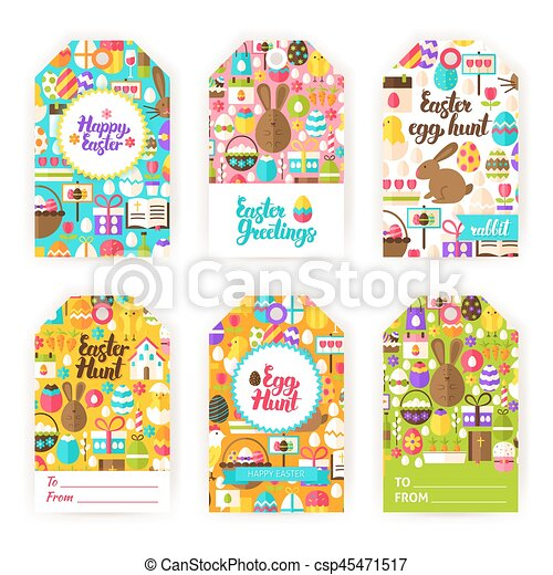 Happy easter gift tag labels happy easter gift labels flat happy easter gift tag labels csp45471517 negle Images