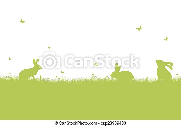Happy Easter - green silhouette - csp23909433