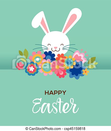 Happy easter greeting card poster with cute sweet bunny and flowers happy easter greeting card poster with cute sweet bunny and flowers csp45159818 m4hsunfo