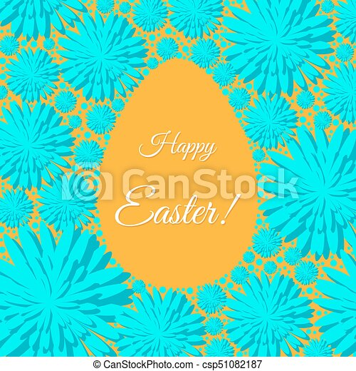 Happy Easter Greeting Card Template With Flowers And Egg  Vector