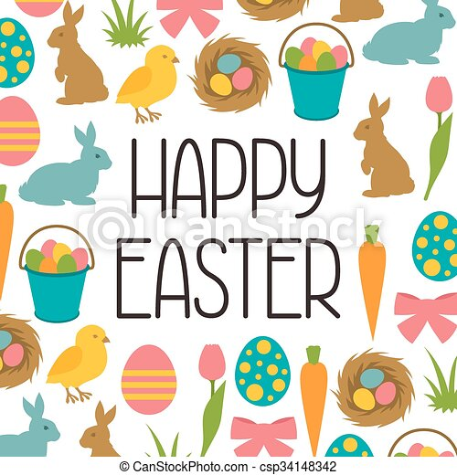 happy easter greeting card with decorative objects concept eps rh canstockphoto com