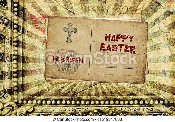 Happy Easter He is Risen - csp19317083