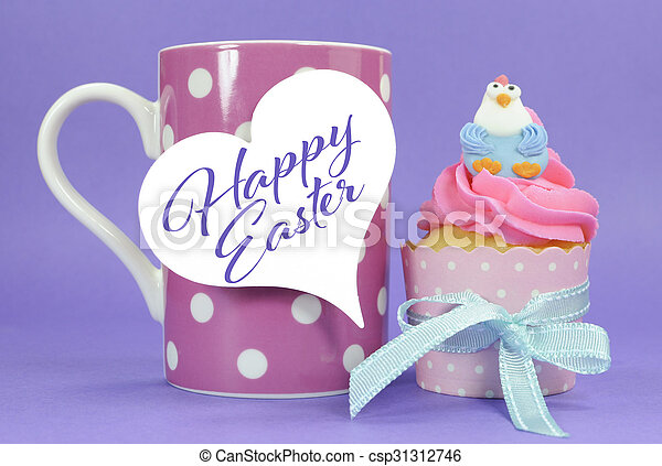Happy easter pink yellow and blue cupcakes with cute stock photo