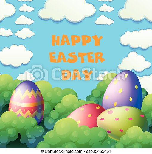 Happy Easter poster with eggs in the garden - csp35455461