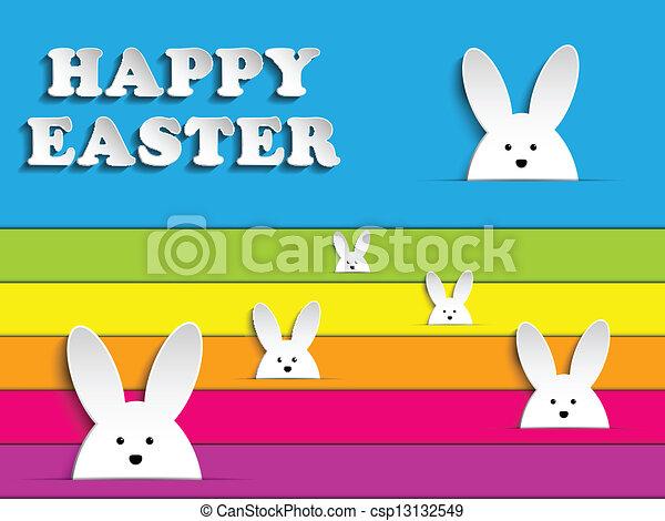Happy Easter Rabbit Bunny on Rainbow Background - csp13132549