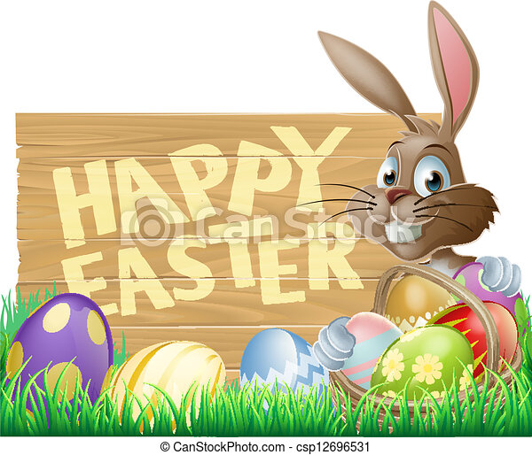 Happy Easter Sign Bunny - csp12696531