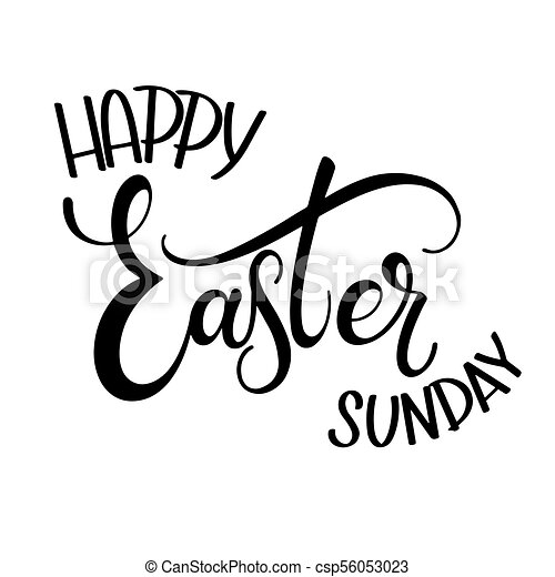 Happy easter sunday lettering hand written easter phrases seasons happy easter sunday lettering csp56053023 m4hsunfo
