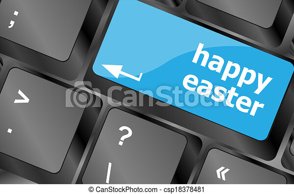 happy Easter text button on keyboard with soft focus - csp18378481