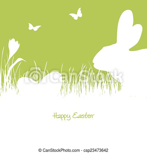 Happy Easter - white silhouette - csp23473642