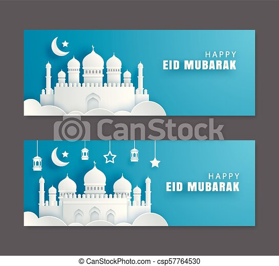 Happy eid mubarak greeting card with crescent moon paper art happy eid mubarak greeting card with crescent moon paper art background ramadan kareem vector illustration use for banner poster flyer brochure sale m4hsunfo