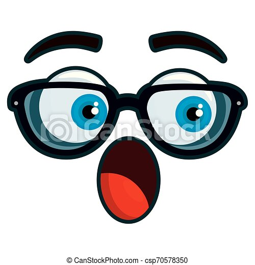 happy emoticon face with glasses kawaii character - csp70578350