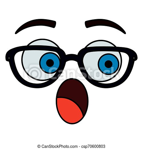 happy emoticon face with glasses kawaii character - csp70600803