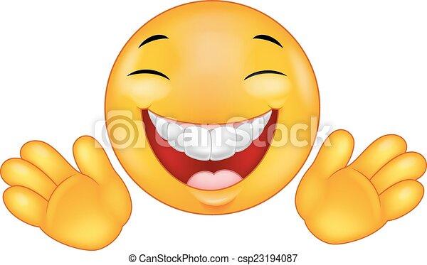 Happy emoticon smiley cartoon - csp23194087