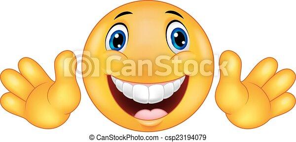 Happy emoticon smiley cartoon - csp23194079