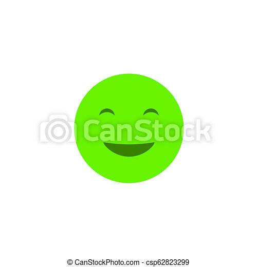 Happy emotion anthropomorphic face. Green smile isolated on a white background - csp62823299