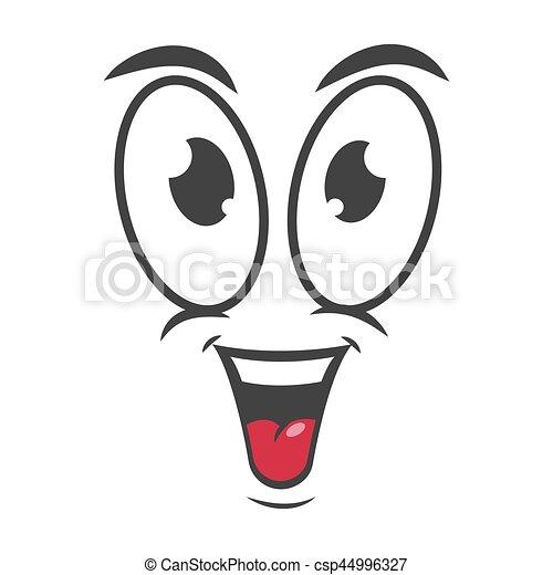 happy emotion icon logo design simple joyful cartoon face rh canstockphoto com happy cartoon face free happy cartoon face images