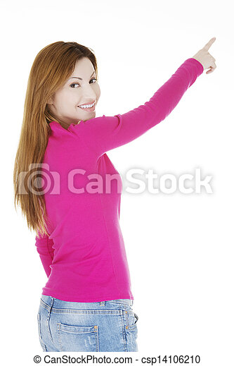 Happy , excited woman pointing on copy space - csp14106210