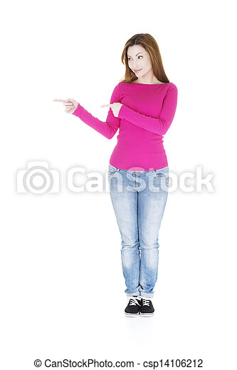 Happy , excited woman pointing on copy space - csp14106212