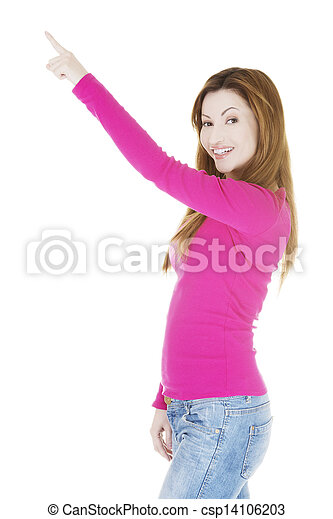 Happy , excited woman pointing on copy space - csp14106203