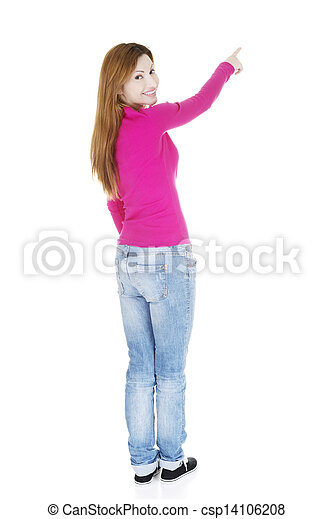 Happy , excited woman pointing on copy space - csp14106208