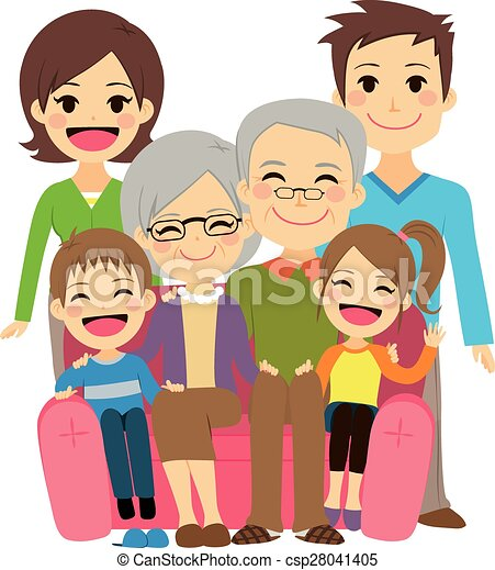 happy extended family illustration of cute happy family with mother