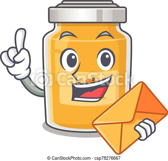 Happy face appricot mascot design with envelope - csp78276667