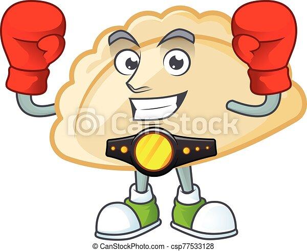 Happy Face Boxing pierogi cartoon character design - csp77533128