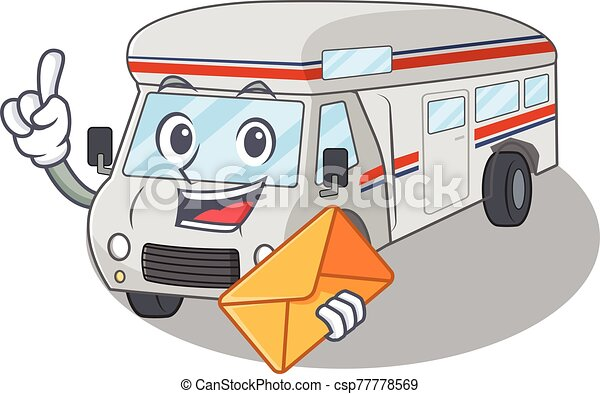 Happy face campervan mascot design with envelope - csp77778569