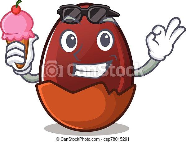 happy face chocolate egg cartoon design with ice cream - csp78015291